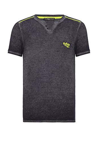 Herren T-Shirt Kurzarm Neon V-Ausschnitt Navy Blau L