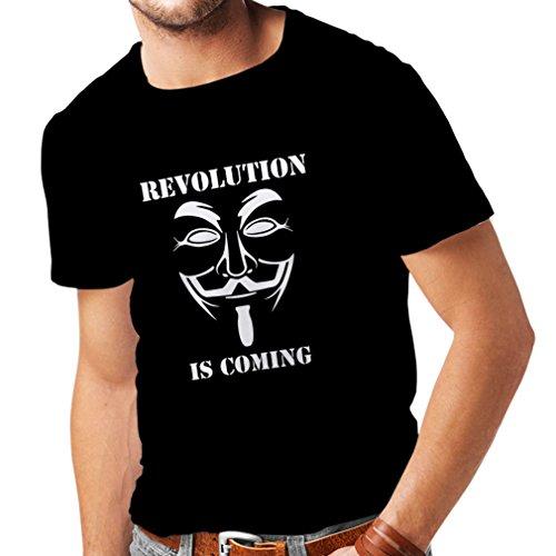 lepni.me Camisetas Hombre La Revolución se Acerca Hackers Anónimos Legión V para Vendetta (Small Negro Fluorescente)
