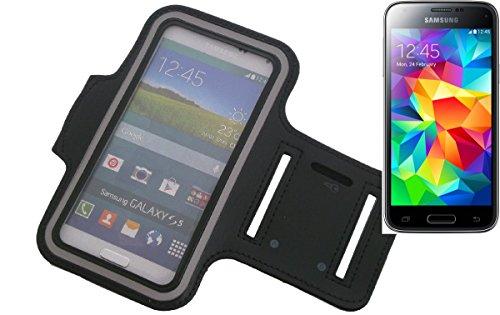 K-S-Trade FürSamsung Galaxy S5 Mini Neopren Jogging Armband Sportarmband Oberarmband Schwarz Kompatibel Mit Samsung Galaxy S5 Mini Mit Reflektor Streifen. Fitness Lauf Armband