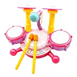 JIACUO Kids Drum Set Micrófono Ajustable Dynamic Flash Light Toy Juguete de Desarrollo