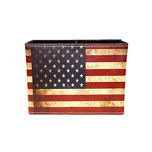 Retro Pen Holder Cup - Retro Pattern Desk Organizer, Home Office Bedroom Stationery Collection-American Flag Pattern