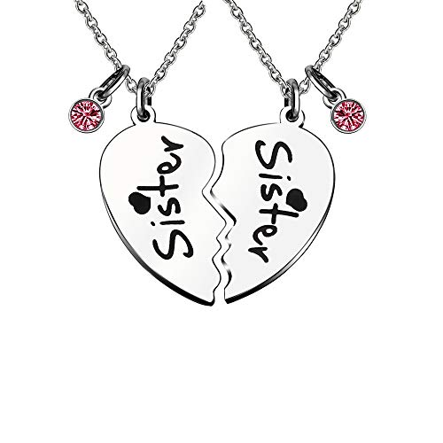 KENYG 2 PCS Heart Shape Red Rhinestone Necklace For Sister Best Friends Friendship Jewellery