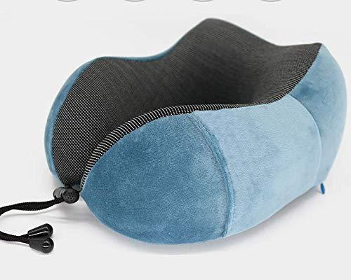 Newgreeny Espuma De Memoria En Forma De U De La Almohada De La Almohada del Cuello del Viaje De La Oficina 30 * 28 * 14 Azul Zafiro + Bolsa de Almacenamiento