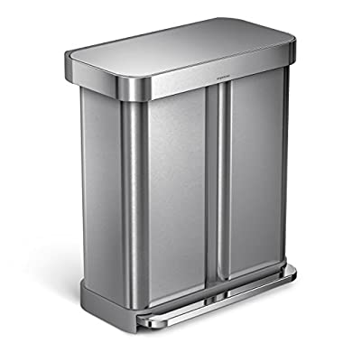 simplehuman 58 Liter / 15.3 Gallon Stainless Steel Dual Compartment Rectangular Kitchen Step Trash Can with Liner Pocket, Brushed Stainless Steel