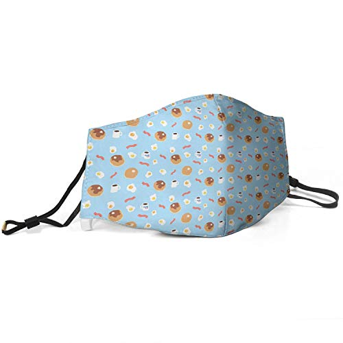 Men's Women Face Cover Ihop-Pancakes-Egg-Bacon-Blue- Face Ma-sk with Adjustable Ear Loops