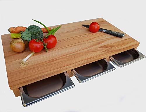 Küchenbrett KERNBUCHE Massivholz mit 3X Auffangschublade 61,5 x 32,5 x 7cm Holzbrett Servierbrett Küche Brett Käsebrett Edelstahlschale Schneidebrett Grillschneidebrett Küchenbrett