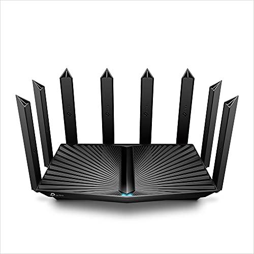 TP-Link Archer AX90 - Router Wi-Fi 6 Gigabit Triband WLAN (4804 Mbit/s + 1201 Mbit/s 5 GHz, 574 Mbit/s 2,4 GHz, 3 porte LAN Gigabit, 1 porta WAN/LAN, HomeShield, OneMesh, Tether App) nero