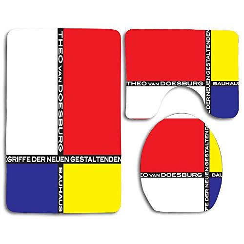 N\A Bauhaus Alfombra de baño de 3 Piezas Alfombras de Contorno Tapa de Pedestal Tapa