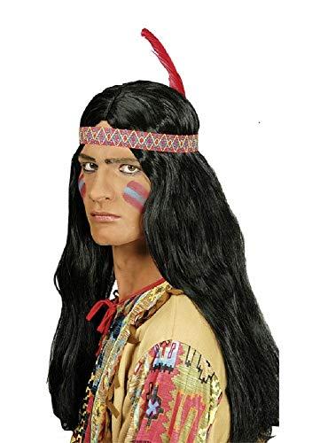 Indianer Perücke für Herren mit Feder Stirnband - zum Wilder Westen Kostüm
