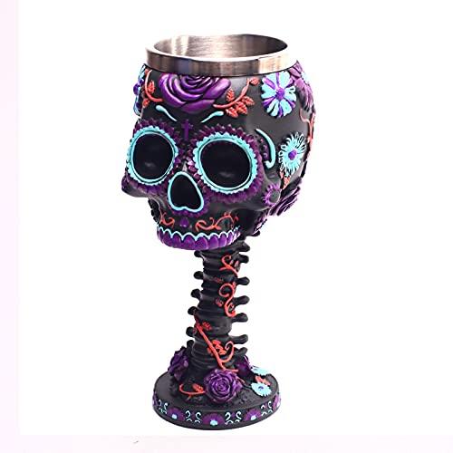 YLEL Copa de Vino de Acero Inoxidable Cráneo de Resina Flor cráneo Pétalo Textura Cráneo Patrón Fantasma Cabeza Vino Copa de Vino, Color (púrpura) (Color : Purple)