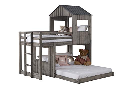 donco kids bunk beds DONCO Twin over Full Campsite Loft BUNKBED Rustic Dirty Grey