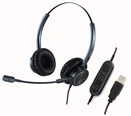 USB Phone Headset with Microphone Noise Cancelling, Binaural PC Headphone for Computer Office Call Center Business Skype Chat, w/Mic Mute for Work from Home Voice Recognition School Education