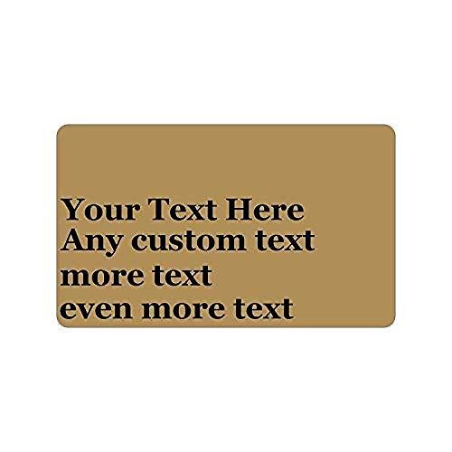 LDHHZ Felpudo de bienvenida personalizado con texto en inglés «Any Message – Your Text Design Logo Cites» para decoración del hogar, alfombra interior y exterior, 40 x 60 cm