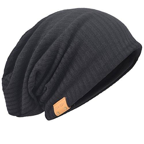 Übergroße Herren Strickmütze Baggy Slouchy Schädel-Kappe Mütze B011s (011s-Schwarz)