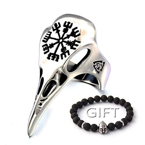 ENXICO Ravens Skull Ring with Aegishjalmur The Helm of Awe Symbol 316L Stainless Steel Norse Scandinavian Viking Jewelry (10)