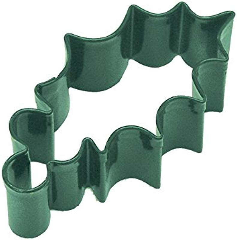 R M Holly Leaf 3 25 Cookie Cutter Green With Colored Durable Baked On Polyresin Finish