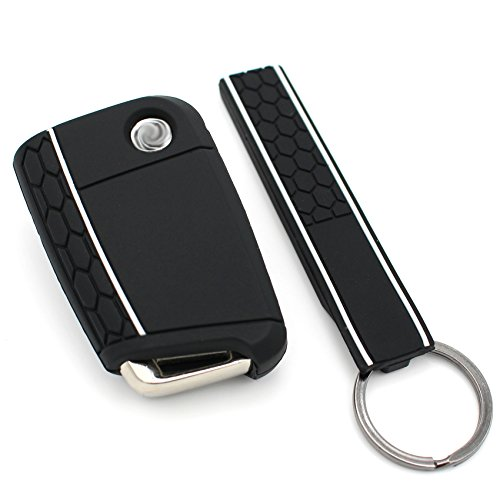 Funda de silicona + llavero de Finest-Folia con tres botones, para llaves de coche negro blanco