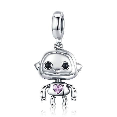 Zilveren Robot Hot Sale Authentieke 925 Sterling Zilver Robot Hanger Charms Fit Armbanden Kettingen Sieraden Maken Kinderen Gift