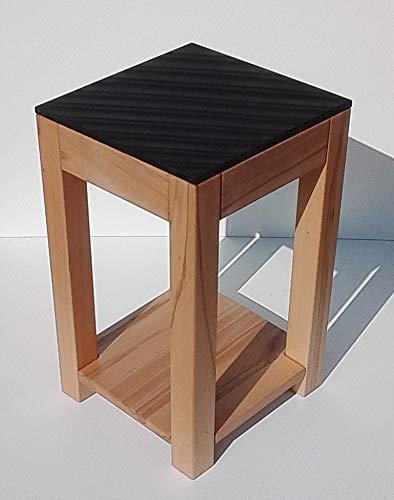 Martin Weddeling - Taburete para Flores con balda de Madera de Haya Maciza y Granito, Color Negro Tamaño: 30 x 30 x 50 cm de Alto.