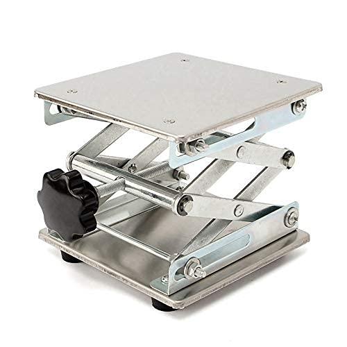 DealMux Soporte ajustable para banco de laboratorio de acero inoxidable de 150 x 150 mm para elevadores de laboratorio