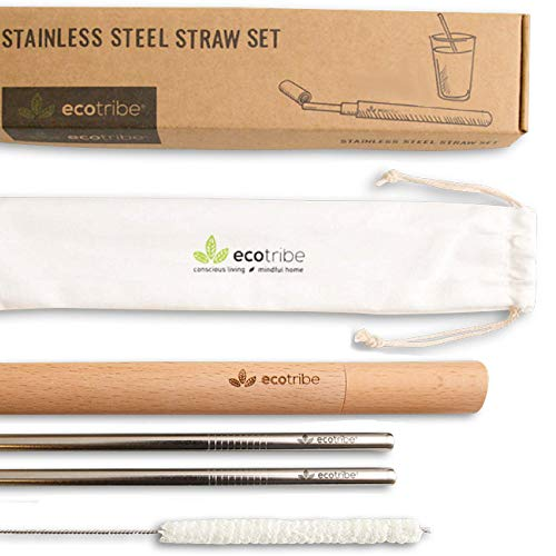 Reusable Metal Stainless Steel Straws: 2 Travel Reusable Straws + 1 Wooden Case + 1 Cotton Cleaning Brush + 1 Pouch, for Hot and Cold Drinks, Portable for Personal Use, 8.5 inches, by Ecotribe