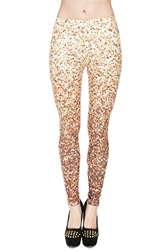 kukubird Printed Patterns Women's Yoga Leggings Gym Fitness Running Pilates Tights Skinny Pants 8 to 12 Stretchable - Glitter