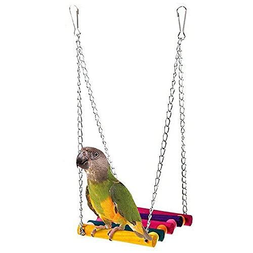 CUIFULI Hamaca colgante juguetes para pájaros, loro columpio juguetes coloridos adecuados para Budgerigar, periquito, conure, cacatúa, mynah, pájaros de amor, aletas