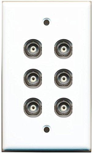 RiteAV 6 Port BNC Female/Female HD-SDI Jack Wall Plate