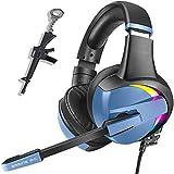 PS4 Gaming Headset Pro RGB Gaming Kopfhörer für Xbox One PC mit Mikrofon Stereo Surround Over-Ear Headset 7 Farben Regenbogen Licht & Geräuschunterdrückung für Laptop Tablet Mac Kinder