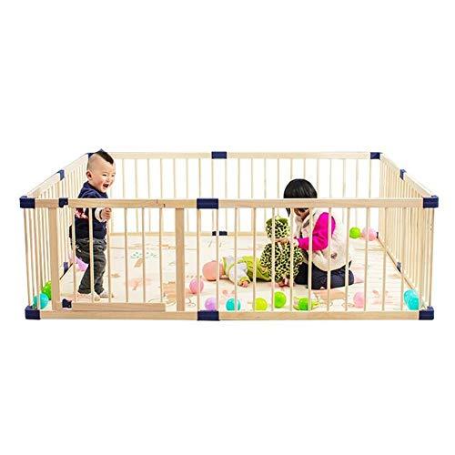 Find Bargain WCBIN Wooden Baby Playpen Safety Fence,Foldable Kids Activity Center Room for Toddler...