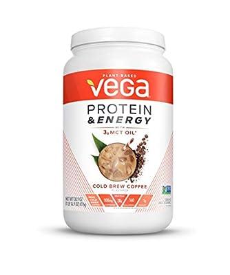 Vega Protein & Energy, Cold Brew Coffee, Plant Based Coffee Protein Powder - Vegan Protein Powder, Keto-Friendly, MCT Oil, Gluten Free, Dairy Free, Soy Free, Non GMO (25 Servings, 1lb 14.9oz)