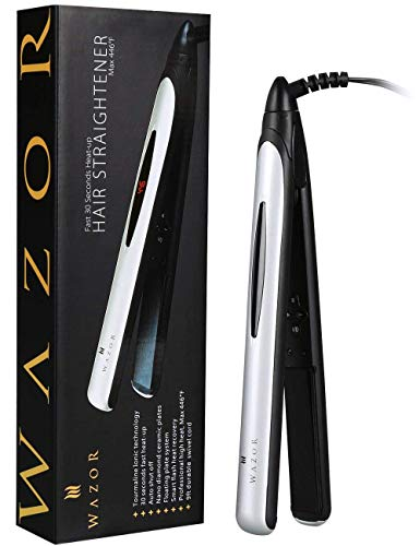 Wazor Hair Straightener and Curler Professional Ceramic 2 in 1 Flat iron Instant Heat Up with Automatic Shut Off(60 min)and Digital LCD Display, Adjust Temperature from 284℉ to 446℉