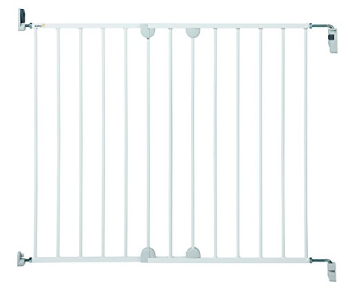 Safety 1st Wall Fix Extending Barrera de seguridad extensible de 62 cm hasta 102 cm, barrera perros y niños, puerta con montaje a pared, color blanco