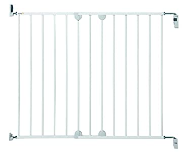 Safety 1st Wall Fix Extending Barrera de seguridad extensible de 62 cm hasta 102 cm, barrera perros y niños, puerta con montaje a pared, color blanco