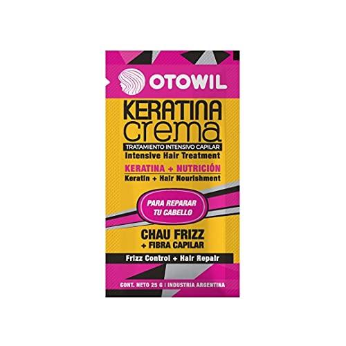 OTOWIL Otowil Keratina Crema 25 grs. La línea Keratina Crema tiene alta cantidad de nutrientes que ayudan a eliminar el frizz, hidratar el cabello y darle suavidad. Fácil de aplicar 25.81 g