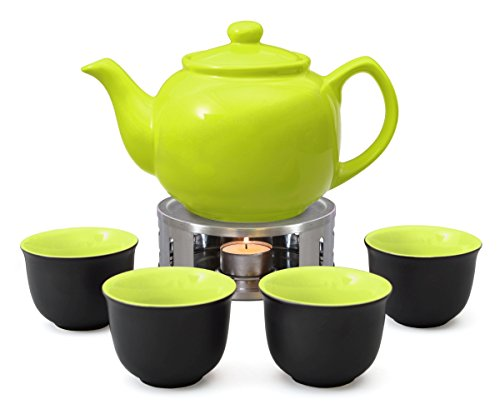 Aricola Teeservice bestehend aus Teekanne Malika 1,2 Liter aus hitzebeständiger Keramik mit Siebeinsatz aus Edelstahl, 4 Teecups 120ml und Edelstahlstövchen, Original
