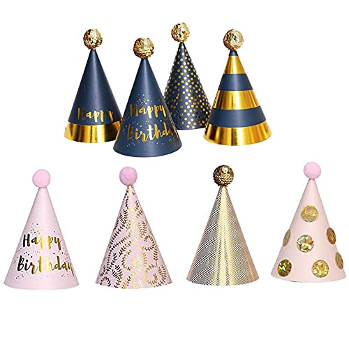 Foree 8 Stück Partyhüte, Partyhüte Party Kegel Hüte, Partyhüte Geburtstag Dekoration, Geeignet für Geburtstagsfeiern mit fröhlicher Partyatmosphäre(Acht Modelle)
