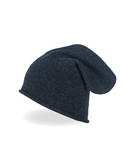 CASH-MERE.CH 100% Kaschmir Beanie Mütze   Strickmütze für Damen und Jugendliche (Blau/Marine)