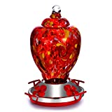 Hapito Hummingbird Feeder, Hand Blown Glass Hummingbird Feeders for Outdoors hanging, Garden Humming Bird Feeder for Outside - Upgraded Leakproof 26 ounces, Give Hook & Ant Moat