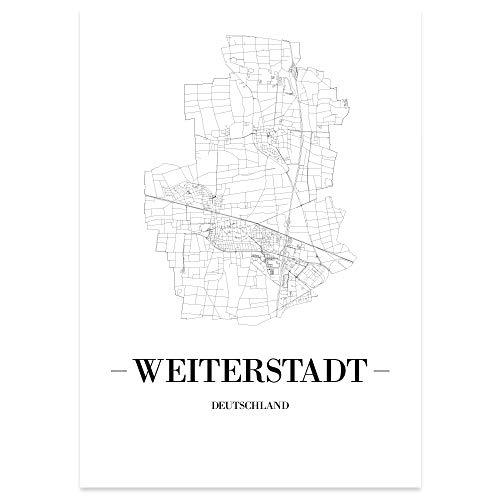 JUNIWORDS Stadtposter - Wähle Deine Stadt - Weiterstadt - 40 x 60 cm Poster - Schrift A - Weiß