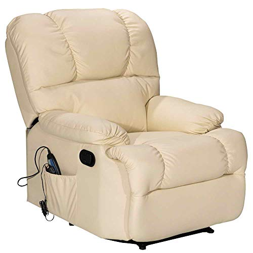 Massage Recliner Chair with Heating and Vibrating, WATERJOY Full Body Leather Massage Chair with Control Black Sofa Chair Recliner for Living Room (Beige)