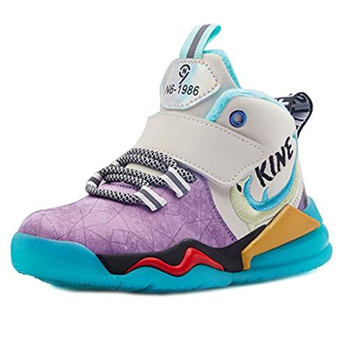 ZOSYNS Zapatos de algodón para niña, para invierno, cálidos, deportivos, exteriores, planos, para niños, 27-37, color Morado, talla 36 EU