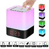 Lámpara de noche Altavoz Bluetooth Sensor Táctil, Luz LED de Noche de Color Regulable, Lámpara de Cambio Color de Luz Cálida Regulable Despertador Reproductor de MP3 Tarjeta micro SD/USB / 3.5mm