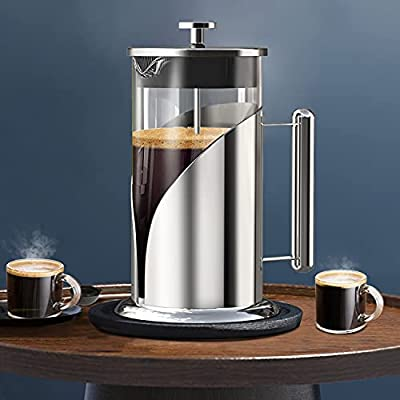 QUQIYSO French Press Coffee Maker 34 Oz Large Stainless Steel + Glass Coffee Press Set with Cups Brush Spoon, Portable Coffee Presses with 4 Level Filter, For Home, Camping, Travel