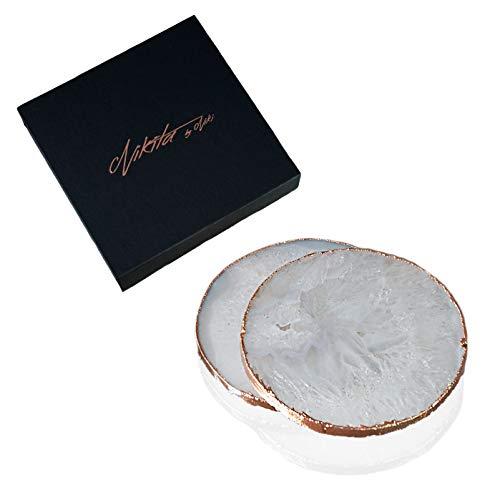 Nikita by Niki ® Weiße Achat Quarz Untersetzer | Natürliche Kristallgeode | Vergoldete Kanten Geschenkbox | 2 Stück