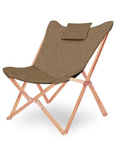Klappstuhl Camping Stuhl Lounge Sessel Modern Design Retro Stühle Liegestuhl Klappbar Gartenliege Auflagen Hochlehner TV Relaxliege Mit Holzrahmen Stoff Für Balkon Braun