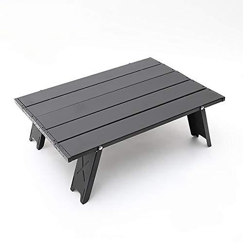 jiaju Mesa Plegable, Mesa Plegable de Picnic de Aluminio Mesa de Camping portátil Ultraligero con Bolsa de Transporte para Barbacoa, cocción, 41.2x29x13cm, fácil de Transportar (Color : Black)