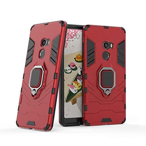 COOVY® Cover für Xiaomi Mi Mix 2 Bumper Case, Plastik + TPU-Silikon, extra stark, Anti-Shock, Stand Funktion + Magnethalter | rot