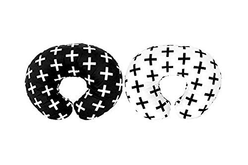 Premium Quality 2 Pack Nursing Pillow Covers by Mila Millie - Nordic Swiss Black & White Unisex Design Slipcovers - 100% Cotton Hypoallergenic - Perfect Baby Shower Gift (Black & White)