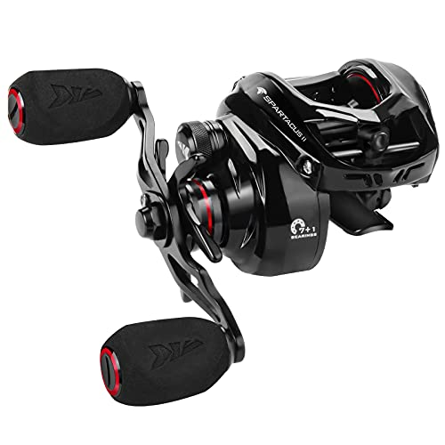 KastKing Spartacus II Baitcasting Fishing Reel, 6oz Ultralight, Super Smooth with 17.6 LB Carbon Fiber Drag, 7.2:1 Gear Ratio, 39mm Palm Perfect Lower Profile Design,Black Rhino,Right Handed